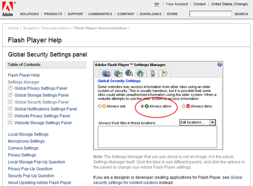 Flash Player Security setting management